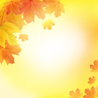 Fondo de hojas de otoño brillante. ilustración