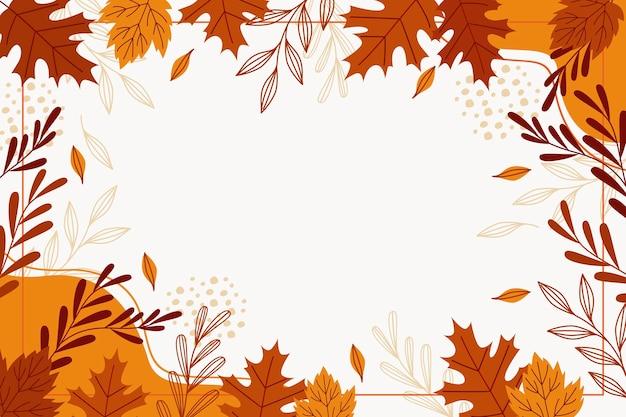 Fondo de hojas de otoño dibujadas a mano