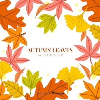 Fondo de hojas de otoño dibujado a mano estilo