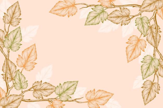 Fondo de hojas de otoño dibujado a mano grabado