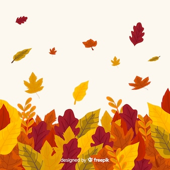Fondo de hojas de otoño dibujado a mano