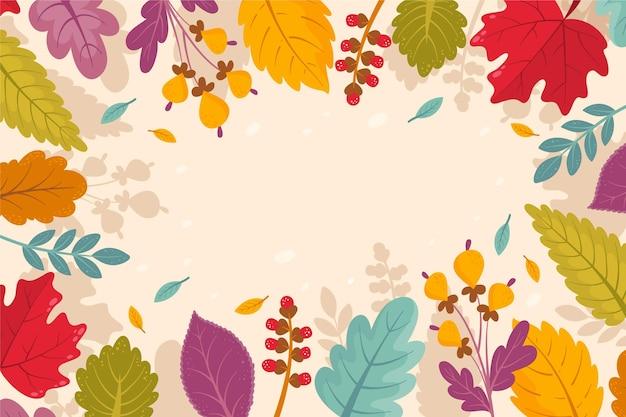 Fondo de hojas de otoño de dibujos animados