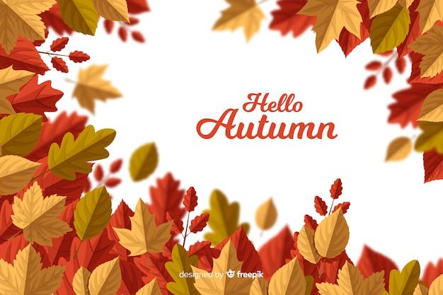 Fondo de hojas de otoño en diseño plano