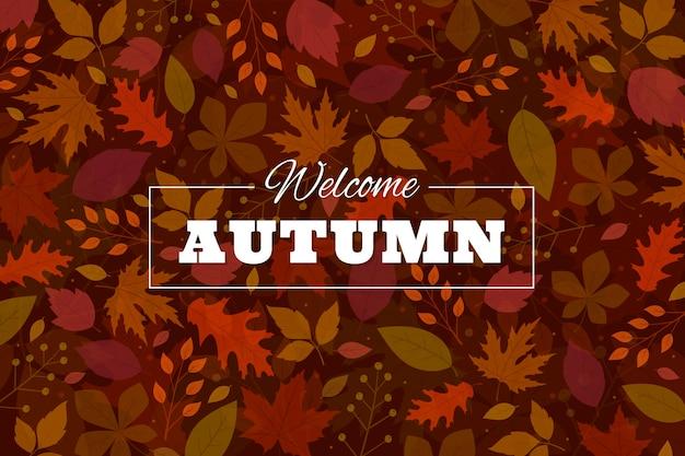 Fondo de hojas de otoño de diseño plano