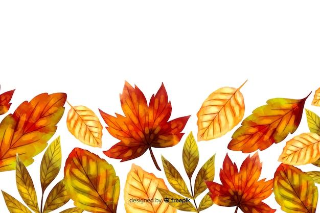 Fondo de hojas de otoño estilo acuarela