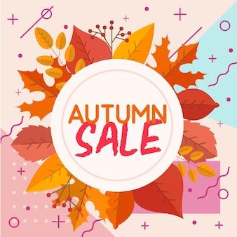 Fondo de hojas de otoño con estilo de diseño de memphis