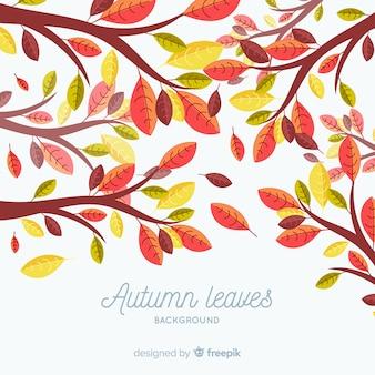 Fondo de hojas de otoño en estilo plano
