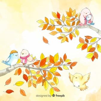 Fondo de hojas y pájaros otoñales en acuarela