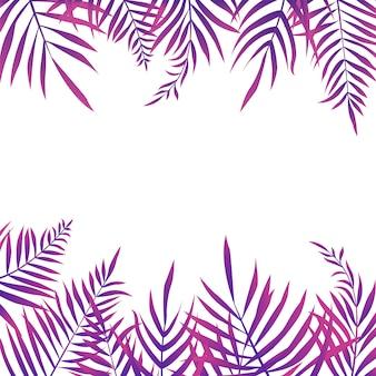 Fondo de hojas de palma tropical con copyspace