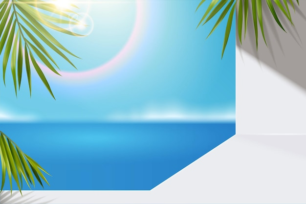 Fondo de hojas de palmera y océano azul bokeh en ilustración 3d