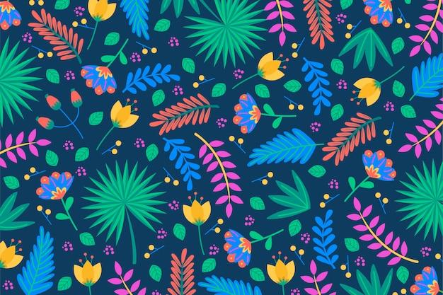 Fondo de hojas de palmera y plantas tropicales