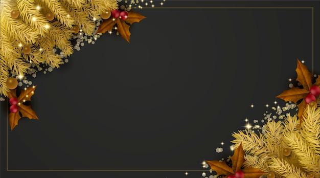Fondo de hojas de pino dorado de navidad con espacio de copia