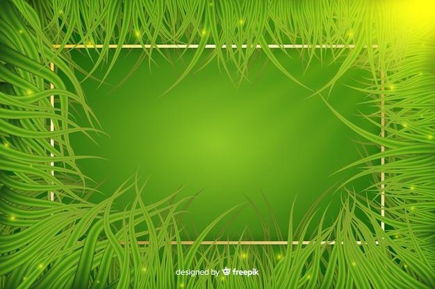 Fondo de hojas realistas con marco dorado