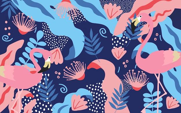 Fondo de hojas de selva tropical con flamencos.