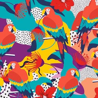 Fondo de hojas de selva tropical con loros
