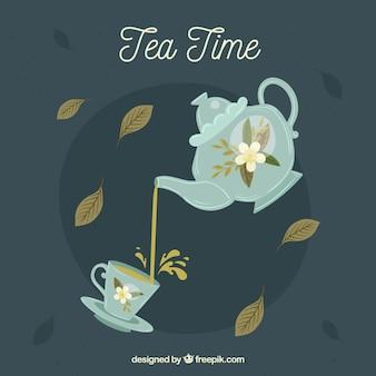 Fondo de hojas de té con diseño plano