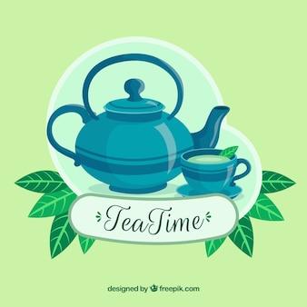 Fondo de hojas de té naturales con diseño plano