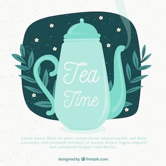 Fondo con hojas de té con tetera