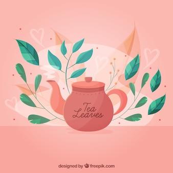Fondo de hojas de té con tetera