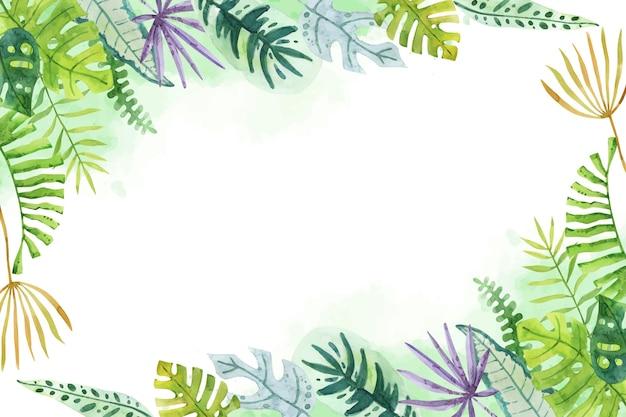 Fondo de hojas tropicales acuarela pintada a mano