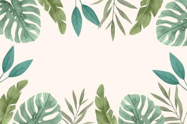 Fondo de hojas tropicales en acuarela