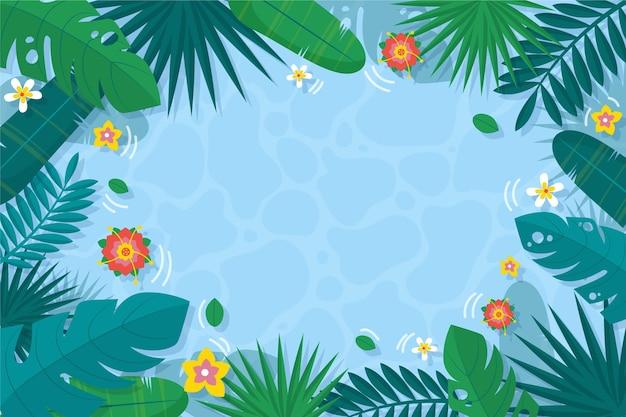 Fondo de hojas tropicales con agua y flores.
