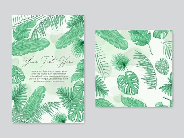 Fondo de hojas tropicales de boda y conjunto de patrones sin fisuras colección de paquetes
