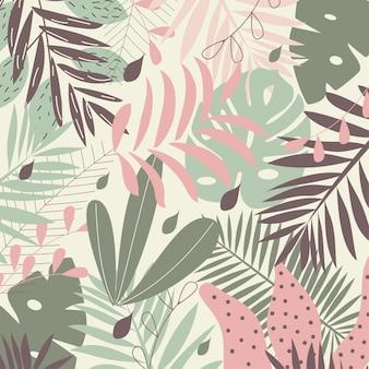 Fondo de hojas tropicales en colores pastel.