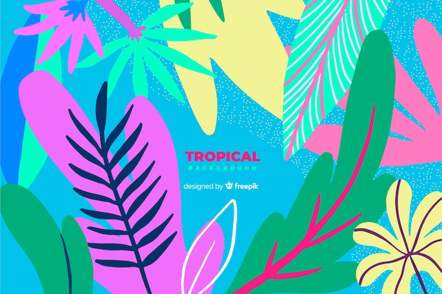Fondo hojas tropicales coloridas dibujadas a mano