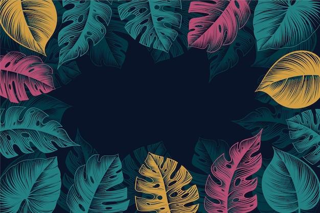 Fondo de hojas tropicales dibujadas a mano grabado