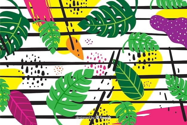 Fondo hojas tropicales dibujadas a mano