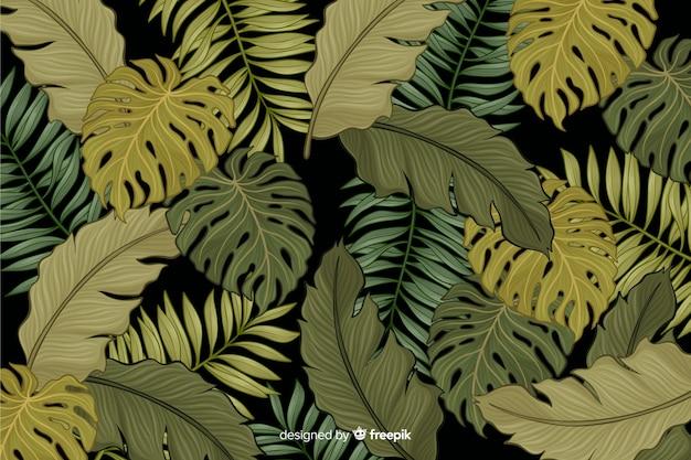 Fondo de hojas tropicales dibujadas