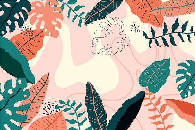 Fondo de hojas tropicales de estilo abstracto