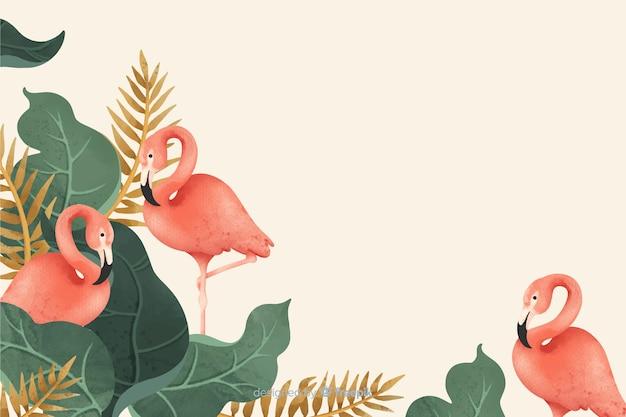 Fondo de hojas tropicales y flamencos