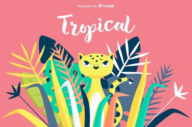 Fondo hojas tropicales con leopardo dibujado a mano