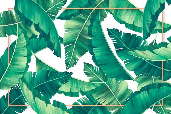 Fondo de hojas tropicales con marco dorado