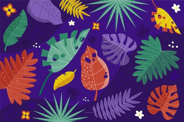 Fondo de hojas tropicales multicolores con flores