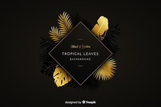Fondo de hojas tropicales negras y doradas
