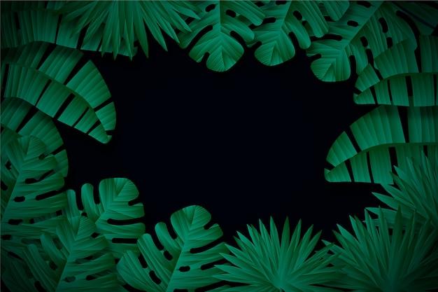 Fondo de hojas tropicales oscuro realista
