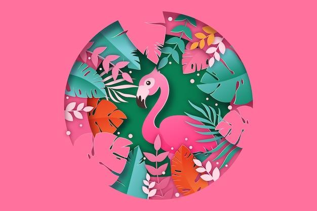 Fondo de hojas tropicales en papel