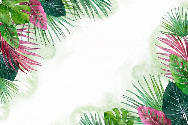 Fondo de hojas tropicales pintadas a mano