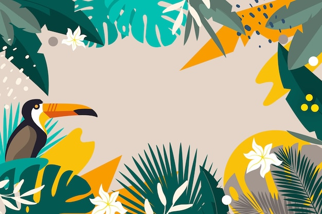 Fondo de hojas tropicales planas