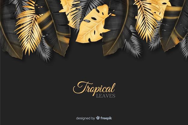 Fondo hojas tropicales realistas oscuras y doradas