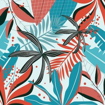Fondo con hojas tropicales rojas, azules y oscuras.