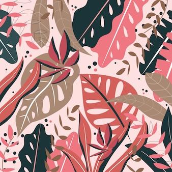 Fondo con hojas tropicales rojas, marrones y oscuras.