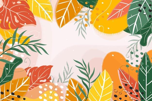 Fondo de hojas tropicales de verano abstracto
