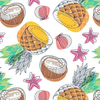 Fondo de hojas tropicales de verano dibujado a mano con piña