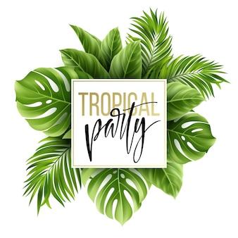 Fondo de hojas tropicales de verano con hojas de palmeras exóticas. plantilla de volante de fiesta. letras de escritura a mano.
