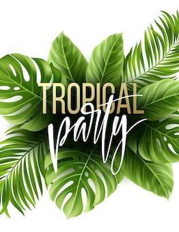 Fondo de hojas tropicales de verano con hojas de palmeras exóticas. plantilla de volante de fiesta.