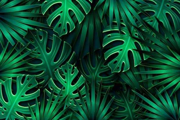 Fondo de hojas tropicales verde oscuro realista